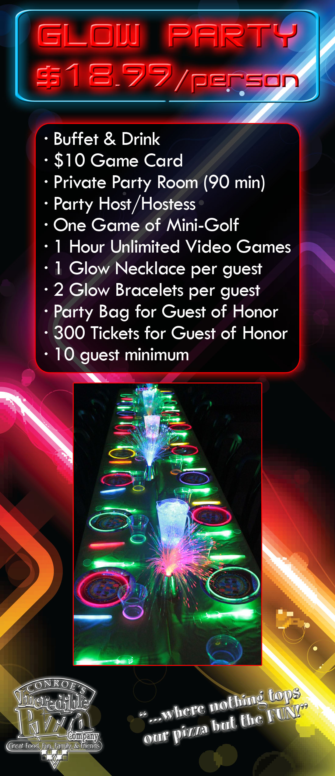 new glow zone parties incredible pizza company enjoy our huge